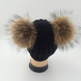 Barato Chapéus Reais Do Raccoon-Double Real Raccoon Fur Hat Pom Poms Inverno Hat Mulheres Lã Knit Beanie Bobble Cap Esqui Pompom Beanies Gorros Grosso Feminino Caps W1