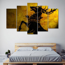 game thrones wall 2019 - Canvas Wall Art Painting Home Decor For Living Room 5 Panel Game Of Thrones Deer Painting Printed Canvas Wall Art Deer P