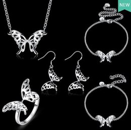 silver butterfly necklace earring set 2019 - 2017 new fashion plating 925 sterling silver Lovely Butterfly Bracelet Necklace Anklet Ring Earrings woman wedding Jewel