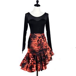 5ec4aa9fcba Latin Dance Dress Women Salsa Dress Tango Samba Costume Shirt Skirt Set  D0214 Long Net Sleeve Ruffled Hem