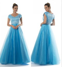 $enCountryForm.capitalKeyWord Canada - Blue Long Modest Prom Dresses With Cap Sleeves Fully Beaded Bodice A-line Floor Length Teens Formal Prom Party Gowns Modest New Design