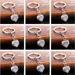 wholesale gift boxes europe Australia - Christmas gifts peach heart flashing family members affection love engraved letter key ring key ring R002 Arts and Crafts mix order