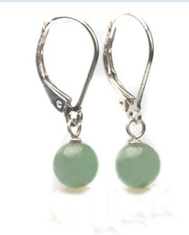 Chinese  Genuine Light green Jade 925Sterling Silver Lever Back Earring>>> free shipping manufacturers