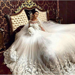 images victorian gown 2019 - 2017 Romantic Victorian Wedding Dresses Scoop Vintage Long Sleeves Arabic Muslim Islamic Wedding Gowns Lace Appliques Br