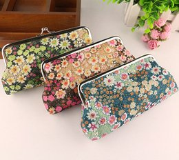 Ladies Handbag Fabric Canada - Embroidery Floral Fabric Patterns Coin Purse Lady 6 Inch Long Size Snap Closure Wallet Money Mobile Bank Card Bag Key Holder Handbag Pouch