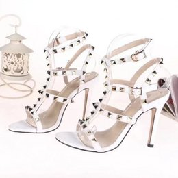 Ladies Sexy Pointed Toe High Heels Women Pumps Patent Leather Shoes Rivets  Stilettos Sandals Party Shoes 494875b66c6f