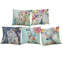 peacocks home decor UK - Watercolor Peacock Pattern Linen Pillowcase Sofa Home Decor Cushion Cover Without Insert (18*18inch)