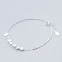 $enCountryForm.capitalKeyWord Canada - 5pcs lot Real Pure 925 Sterling Silver Vintage Style Snake Chain with Round Disc Women Jewelry Ankle Bracelet pulseras de plata