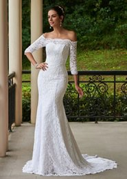 Barato Bandagem Sexy Imagem-2017 New Arrival Sexy Mermaid Wedding Dresses Off-Shoulder 3/4 Long Sleeves Bandage Court Train Laço Real Pictures White Beach Bridal Gowns
