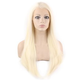 """$enCountryForm.capitalKeyWord Canada - 24"""" Long light Blonde Silky Straight Half Hand Tied Heat Resistant Synthetic Fiber Lace Front Fashion Wig S02"""