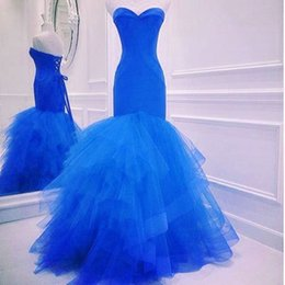 Barato Camisas Do Coral-Blue Mermaid Prom Dresses Sweetheart Tiered Shirt Lace Up Andar Comprimento Longo formal Vestidos Noite SE158