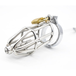 male urethral toys Canada - Stainless Steel Male Chastity Device Cock Cages With Silicone Tube Sounding Urethral Craft Chastity Cage Penis Ring Sex Toy For Men CP130-1