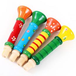 La trompeta de madera sonido silbato juguete bebé niños jugando instrumentos musicales juguetes educativos para la primera infancia al por mayor