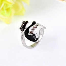 Guitar Bright NZ - Women Men Ring Jewelry Punk Style Bright Colorful Glazed Guitar Ring Lovers Couples rings Finger Rings Bague Fashion Jewellry Gifts Free DHL