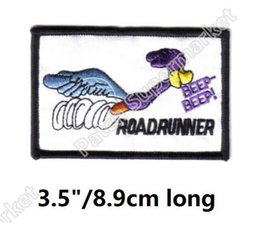 "Embroidered Name Patches Australia - 3.5"" Looney Tunes Road Runner Running Figure & Name Beep Beep patches Embroidered halloween cosplay costume clothing diy"