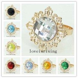 22 Renkler Pick-100 adet / grup Temizle Mücevher Peçete Halkaları Vintage Stil Altın tonlu Metal Yüzükler Düğün Dekor Peçete tutucu