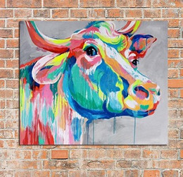 colourful art paintings Canada - Framed Colorful Cow Hand Painted Wall Decor Colourful Cartoon Animal Art Oil Painting On Canvas Multi Size A059