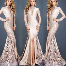 Robes De Bal D'empire Nu Pas Cher-Dubaï Arabes Sexy Slits Robes de soirée Nude Champagne 2017 Sirène manches longues O Neck Sweep Train Occasion Formal Occasion Prom