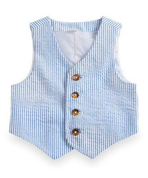 cotton seersucker NZ - 2017 Blue Pinstripe Cotton Seersucker Boy's Vest Custom Made Children Suit Vest Slim Boy's Formal Wear Kids Prom Suit Waistcoat Wedding Vest