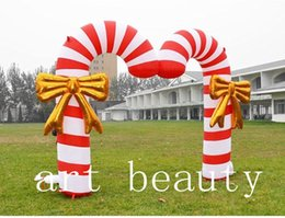 inflatable candy Canada - 4m Advertising Celebration Inflatable Christmas Double Candy Cane Arch