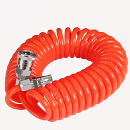 Chinese  free shipping 10X6.5mm 12M pneumatic spring pipe PU air hose high pressure hose with quick couple manufacturers