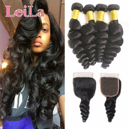 Unprocessed loose wave closUre online shopping - Virgin Hair Bundles with closure g A Unprocessed Human Hair Weaves Indian Loose Wave Virgin Hair Wefts Natural Black