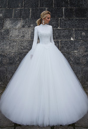 High Collar Ball Wedding Dress Canada - Gorgeous Ball Gown High Collar Floor Length White Tulle Muslim Wedding Dresses Long Sleeve Lace Famous Bridal Wedding Gowns