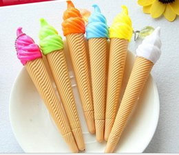 $enCountryForm.capitalKeyWord Canada - Wholesale gel pen free shipping 120pcs\lot Creative stationery super realistic ice cream cone with pendant neutral pen 12 colorful pen 025