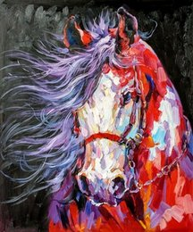abstract horses oil painting Canada - Colorful Art Horse-,Pure Handpainted Abstract Animal Art Oil Painting On Canvas.customized size accepted,golden