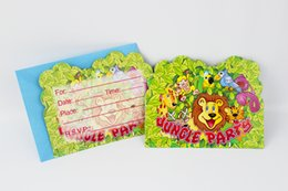 China Wholesale-6pcs Envelop Shape Jungle Party Theme Party Invitation Card Kids Baby Birthday Festival Party Card Decoration Supplies cheap jungle party supplies suppliers