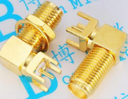 Rf Antennas Canada - SMA Lengthened 17MM SMA-KWE Outside Screw Hole Lengthened 17MM Radio Frequency Seat RF Antenna base Elbow Horizontal High Quality Gold Plate