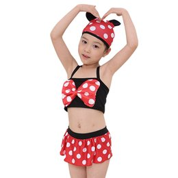 classical girls swimming suit 3pcs DOT swimming girls beautiful choose children tutu swimming suit DHL for free shipping on Sale