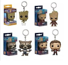 Galaxy Keychain Canada - Guardians of the Galaxy 2 Keychain Action Figures dolls toy New Kids Star-Lord Rocket Baby Groot PVC toys 4 Style A 0808