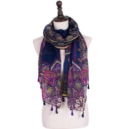 White Muffler Canada - 2018 new designer tassel women scarf long beach shawl ethnic printed scarves muffler cape red flower printed scarfs woman