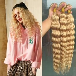 $enCountryForm.capitalKeyWord NZ - Brazilian Blonde deep Wave Hair Weave 100% Human Hair Blonde 613 deep wave 3 Bundles lot
