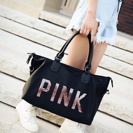 Hot Women Design Travel Duffle Bags Large Capacity PINK Sequins letters Luggage  Bag Yoga Fitness Shoulder Bag Waterproof Beach Totes Fashion 6b8b1afef71f2