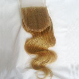 $enCountryForm.capitalKeyWord NZ - #27 Honey Blonde Lace Closure Body Wave Brazilian Virgin Human Hair Free Middle 3 Way Part Bleached Knots 8-20 inch