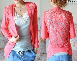 Knitting Lace Canada - Wholesale- Spring Summer Fashion Candy Color Lace Cardigan Long Sleeve Back Hollow out Knitted Crochet Tops Ladies Female Blusa Feminina