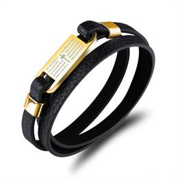 $enCountryForm.capitalKeyWord Canada - Multilayer Black Leather Crucifix Cross Bible in Spanish Stainless Steel Wrap Bangle Bracelet Wristband Biker Mens Jewelry