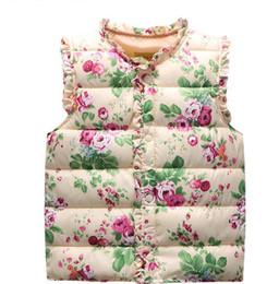 $enCountryForm.capitalKeyWord NZ - Baby Girls Floral Print Waistcoat 2017 Winter Kids Girls Graffiti Vests Coat Kids Girl Floral Print Jacket Children Outerwear Clothing S420