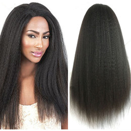 $enCountryForm.capitalKeyWord Canada - Indian Kinky Straight Human Hair Wigs For Black Women Guleless Lace Frontal Wigs With Baby Hair Italian Coarse Yaki Glueless Full Lace Wigs