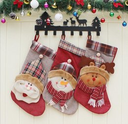 Christmas Tables Canada - Christmas socks Christmas tree decoration supplies 2018 stuff sacks outdoor sports bags Christmas Santa Claus Snowman Elk bags free shipping