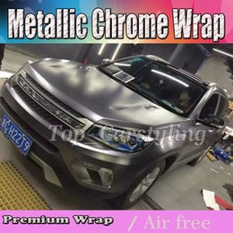 metallic chrome car wrap NZ - 2017 White Metallic Chrome Vinyl Car Wrap Film with air bubble free   release Covering styling graphics Covering foil 1.52x20m roll