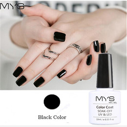 Laca De Gel Barato Baratos-Venta al por mayor-MYS Nail Gel Polaco francés manicura Negro Color Lámpara UV LED Soak Off gel barniz barato Nail Art Polaco 10ml