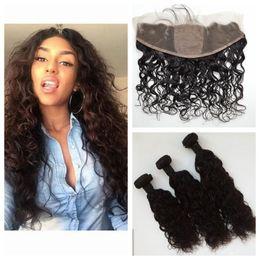 $enCountryForm.capitalKeyWord NZ - Silk Base Frontal With Bundles 4pcs Lot Unprocessed Human Hair Peruvian Water Wave Virgin Hair With Closure G-EASY