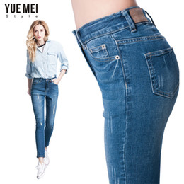 boyfriend ripped mid waist jeans NZ - Wholesale- 2016 Plus Size ripped jeans for women Elastic Mid Waist boyfriend jeans for women Skinny Pencil ripped Jeansfor women