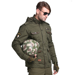 Barato Hoodie Tático-M65 US Air Force Bomber Army Tactical Jackets Homens Winter Autumn Combat Multi Pocket Coat Hoodies Windbreakers Military Jacket