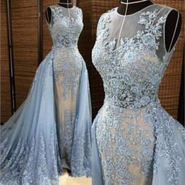 $enCountryForm.capitalKeyWord NZ - Luxurious Blue Lace Applique Tulle Major Beading Pearl Elegant Jewel Sleeveless Formal Evening Dresses Vintage Beautiful