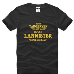 Roar T Shirt Canada - Game of Thrones T Shirts Men Cotton Short Sleeve House Targaryen Men's T-Shirt Fire And Blood House Lannister Tees Hear me roar