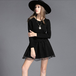 fashion tutu skirts for women NZ - Two Pieces short skirt suit women's Slim thin solid wild black tutu plus size lace fat chiffon skirts elastic waist for women wholesale